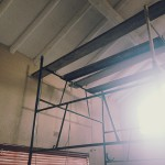 Scaffolding to paint the very high diningroom ceilings